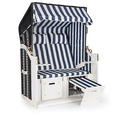 Blue White Striped Beach Lounger Garden Chair Upto 2 Seater Sun Awning Canopy