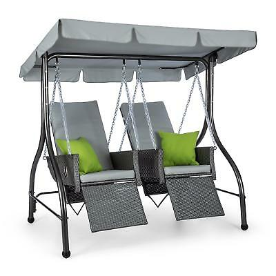 Swing Chair 2 Seater + Awning Canopy Sunshade Home Outdoor Garden Furniture