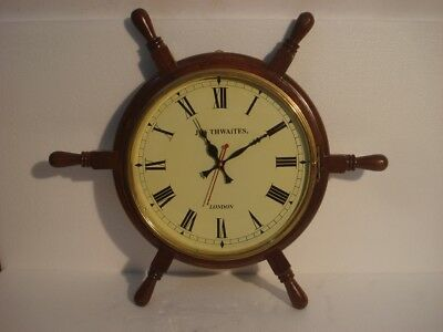 LARGE - Vintage Style   LONDON Wall Clock - Wooden & Brass (2800)