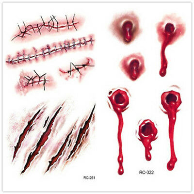 Halloween Zombie Scars Temporary Tattoos Fake Scab Stitches Bite Blood Make Up *