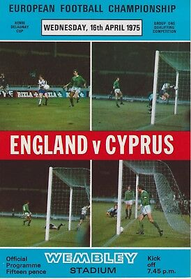 England V Cyprus ~ Euro Qualifier ~ 22 May 1974
