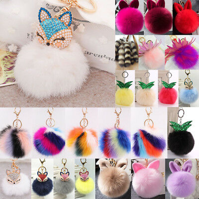 Rabbit Fur Fluffy Pompom Ball Handbag Car Pendant Charm Key Chain Keyrings Lot