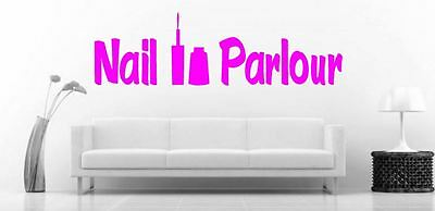 Nail Parlour with Nail Varnish Bottle Pink Vinyl wall art Decal Sticker