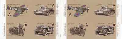 "Czech 1945-2015 stamp booklet ""They brought freedom"" WW2 T-34 Spitfire Jeep new"