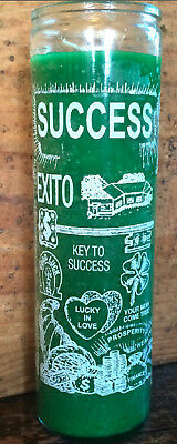 SUCCESS    SPELL CANDLE    7 day glass jar Mexican Voodoo Candles.