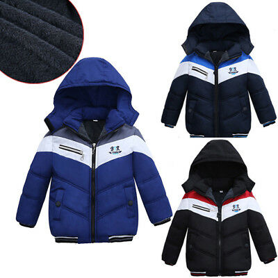 Kid Infant Baby Boy Thick Coat Cotton Padded Warm Jacket Hooded Snowsuit Outwear