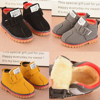 Toddler Kids Baby Girl Boy Warm Martin Fur Snow Boots Leather Crib Shoes Sneaker