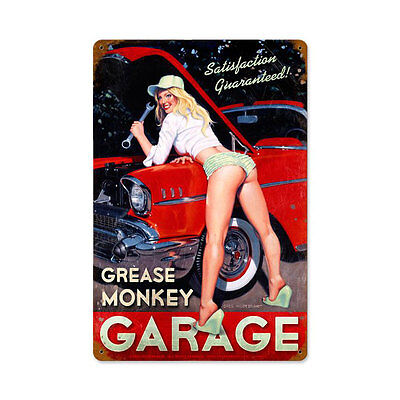 Grease Monkey Garage Hildebrandt Pin Up Pinup Girl Tin Metal Steel Sign 12x18