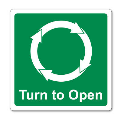 Turn To Open Clockwise Self Adhesive Stickers Signs