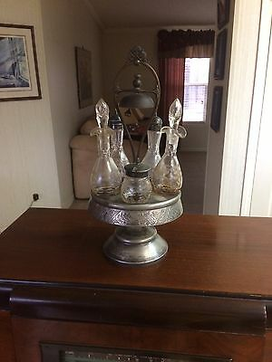 Vintage / Antique Silver Plate Cruet / Condiment Set with 5 Cruets and Bell 16""