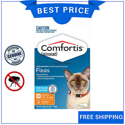 COMFORTIS for Cats 3 Chews 2.8 to 5.4 Kg ORANGE Pack Chewable Cat Flea treatment