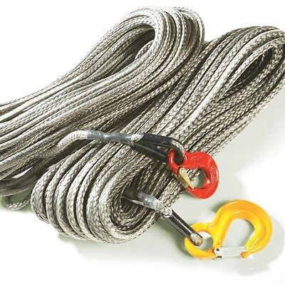 HALF PRICE: Dynaline Synthetic Winch Line/Tow Rope 28m x 6mm Grey With Hook