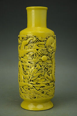 Chinese Yellow Porcelain Carved Dragon Vase