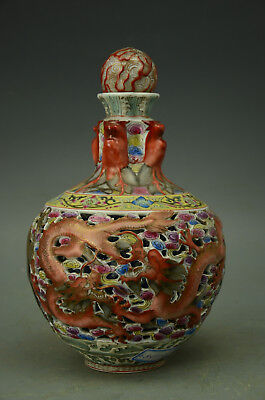 Chinese Famille Rose Porcelain Hollow-work Dragon Vase