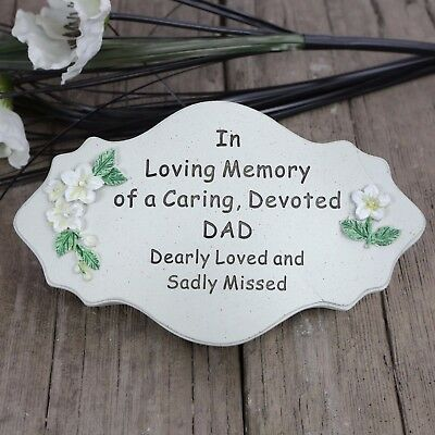 David Fischhoff Grave Memorial Plaque Stone Effect Ornament - Devoted Dad 603