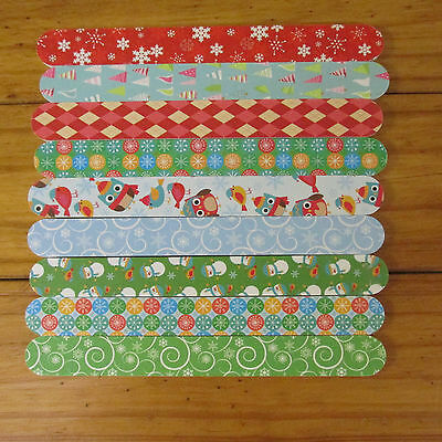 Set Lot Of 18 Holiday Christmas Emery Boards Nail Files, 6 Packages Of 3 Each