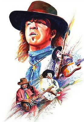 Stevie Ray Vaughan Print Poster Blues Rock Guitarist Sticker or Magnet