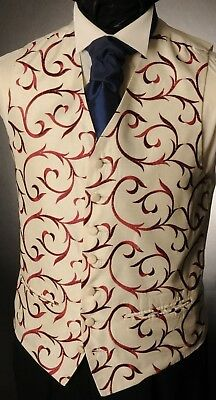 Cw27. Mens/boys Maroon/deep Red Swirl Waistcoat / Dress/ Suit / Party / Formal