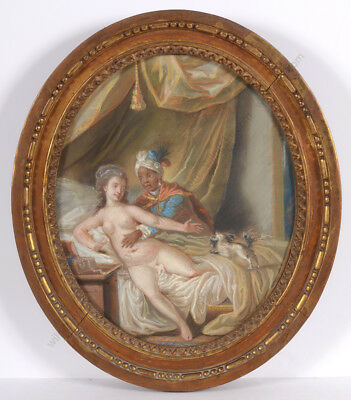 "Louis-Marin Bonnet ""Rococo erotic scene"", extremely rare pastel!! 18th century"