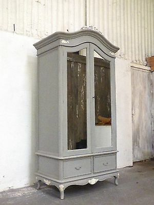 French Style 2 Door Marcella Wardrobe Grey And White Shabby Chic