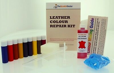 Bright Red ALL IN ONE Dye Paint Repair Kit for Restoring Worn & Scratch Leather