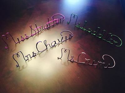 Teacher Gift Unique & One-of-a-kind Wire Name Stand For Desk