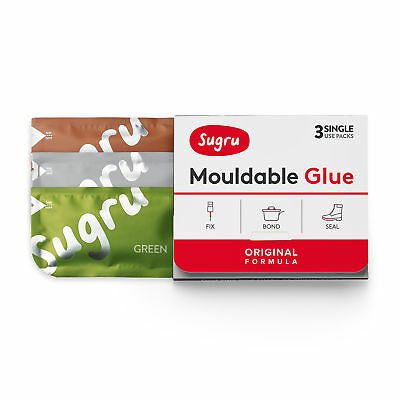 Sugru Mouldable Glue - Original Formula - Brown, Green & Grey (3-pack)