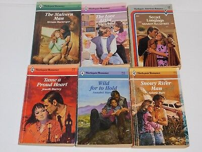 (80G) LOT of 6 Harlequin Romance Paperback Books 1980's