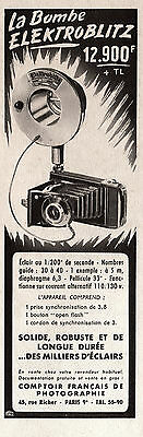 Publicite  Elektroblitz  Flash  Appareil Photo  Ad  1953