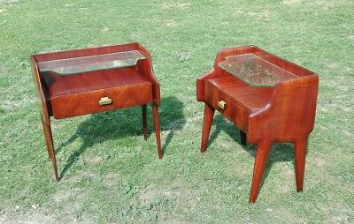 Splendid Pair Rare Side End Table Mid-Century Mahogany Nightstands italy 1950s