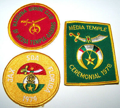 (3) New Late 1970's Misc Temples Masonic Shriners Vest / Jacket Patches