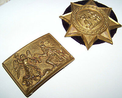 Vintage Early 1900's Masonic Knights Templar Buckle And Sash Badge