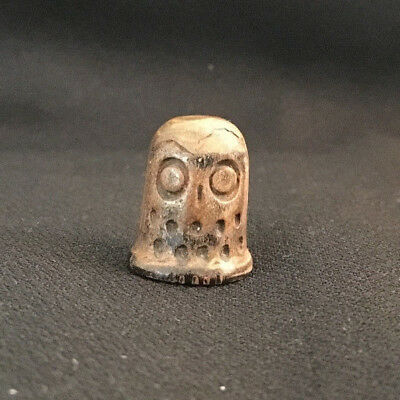 Old Carved Wood Wooden Etched Owl Thimble Animal Bird Sew Sewing Thread Needle