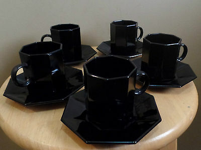 Vintage GLASS Arcoroc France BLACK Tea Cups & Saucers 10 Piece ESPRESSO SET