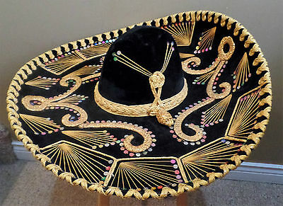 Authentic PIGALLE Brocade Large MEXICAN BLACK Velvet SOMBRERO w Gold & Sequins