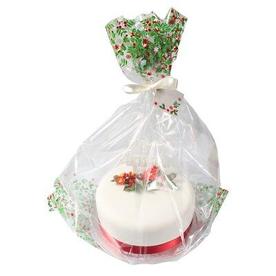 Large Cellophane Christmas Cake Hamper Bag with Ribbon and Gift Card x 20