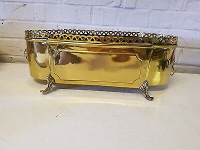 Vintage Brass Long Planter with Lion Head Ring Handles and Feet