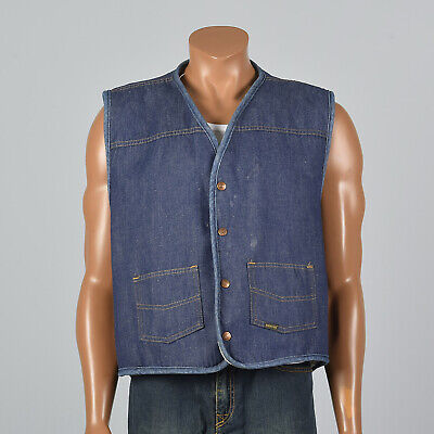 3XL 1970s Roebucks Denim Chore Vest Workwear Shearling Autumn Separates 70s VTG