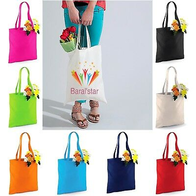 Bag For Life Canvas Bright Coloured Shopping Shoulder Tote Shopper Bags W101S
