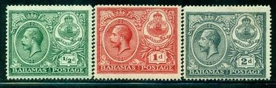BAHAMAS 65-67 SG106-08 MH 1920 KGV Peace Celebration short set of 3 Cat$8