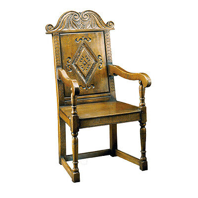 Vintage Hand Carved Cromwellian Gentleman's Chair, Solid Oak, 2 available