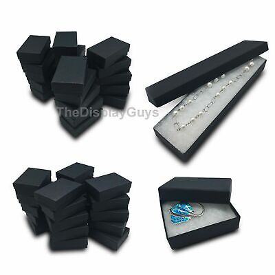 25 pcs Black Cotton Filled Jewelry Gift Boxes With Variety Of Sizes