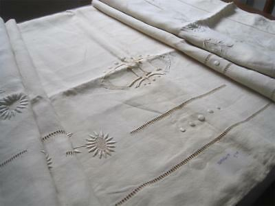 Unused Vintage French Pure Linen Sheet, Superb, Quality Decoration, Curtain