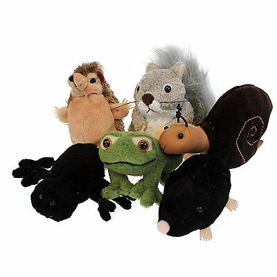 The Puppet Company Set of 6 Garden Wildlife Animals Finger Puppets NEW