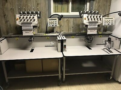 2 Melco Emt 10T F1 Embroidery Machines