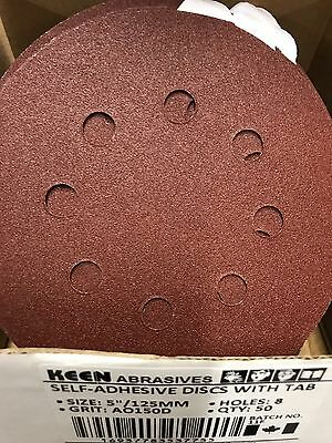 "box of 50, 150 Grit Keen 5""x8 holes psa Sticky sanding disc sandpaper #37755"
