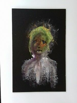 Original expressionist female  portrait painting  in gouache and  acrylic paint