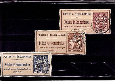 France 1900 1906 -  Lot timbres TELEPHONE cachets ALGER