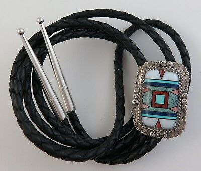 Unique Sterling Silver & Intricate Mosaic Inlay Southwestern Ornate Bolo Tie
