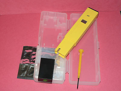 New Digital Tester Meter Pen Test Ph 0-14 Scale Testing With Plastic Case